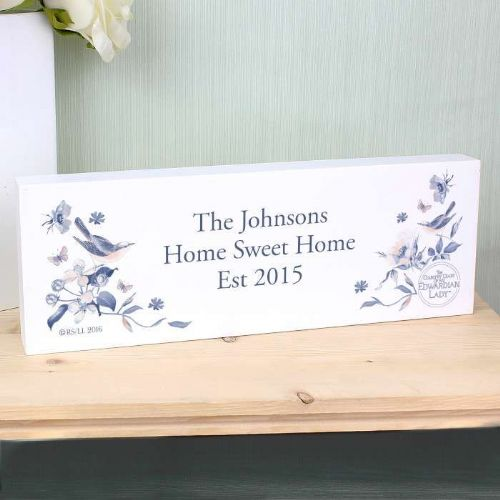 Personalised Country Diary Blue Blossom Mantel Block